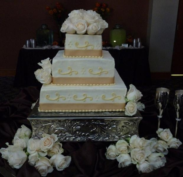 Brides cake with scrolls