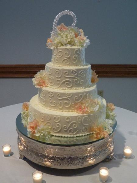 [Image: Brides cake with swirls and Hydrangea]